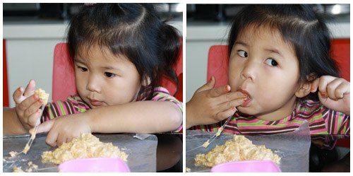 arrayah making rice crispies