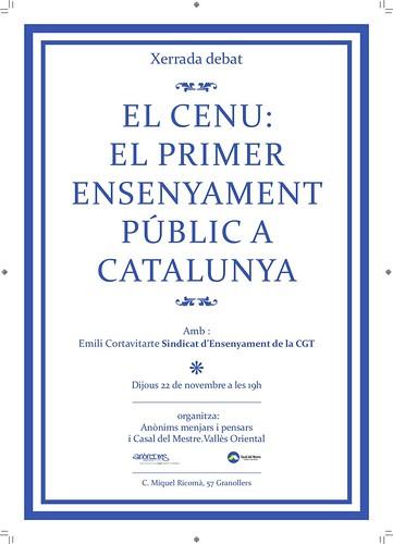 el CENU: El primer ensenyament public a catalunya.xerraada 22 de novembre al vallès oriental