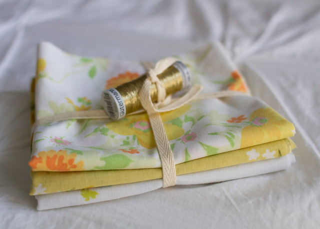 vintage sheets and pretty thread