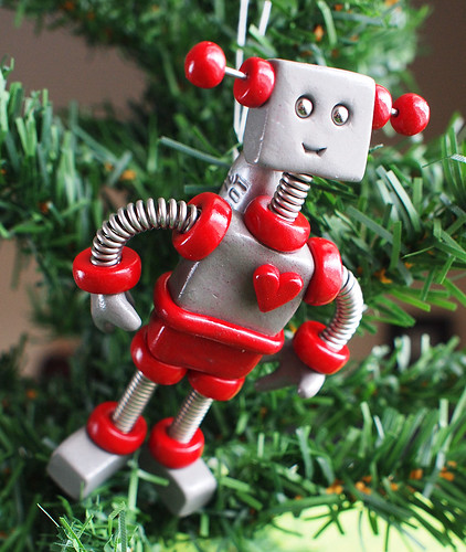 Red Raxie Robot with Jetpack Christmas Ornament by HerArtSheLoves