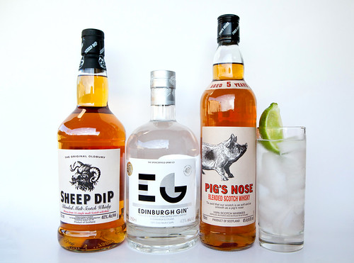 Sheep Dip Scotch Whisky, Edinburgh Gin, and Pig's Nose Blended Scotch Whisky
