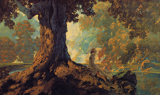 Maxfield Parrish 'Dreaming' or 'October' (modified)1928