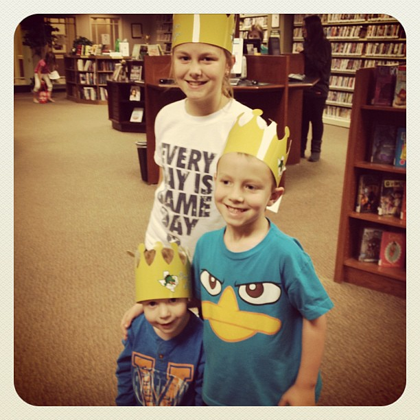 It's not quite the New Canaan Library but the kids are learning to love it nonetheless. Of course Football dragon crowns help.