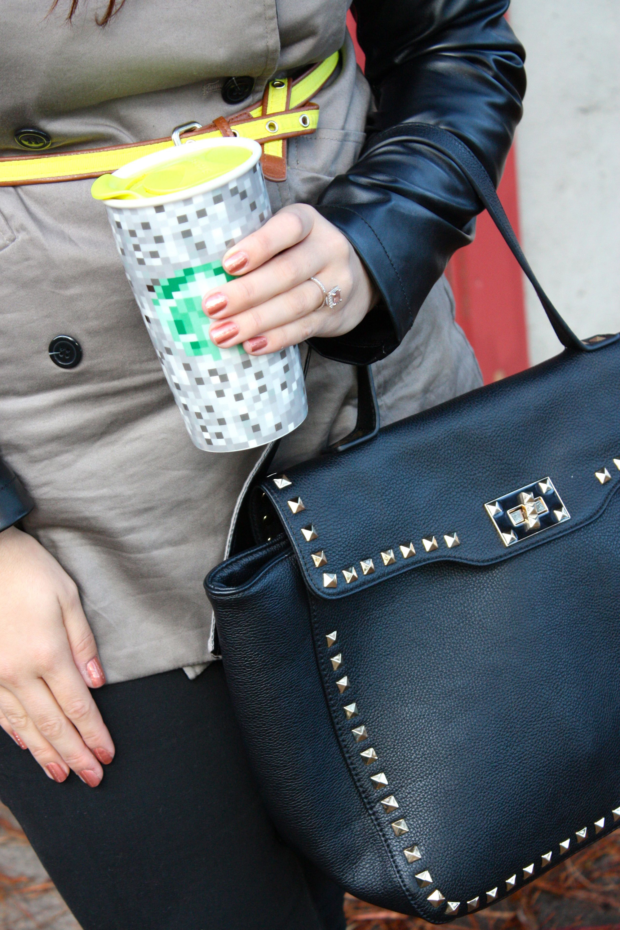 leather sleeve trench with neon belt and starbucks + rodarte mug14
