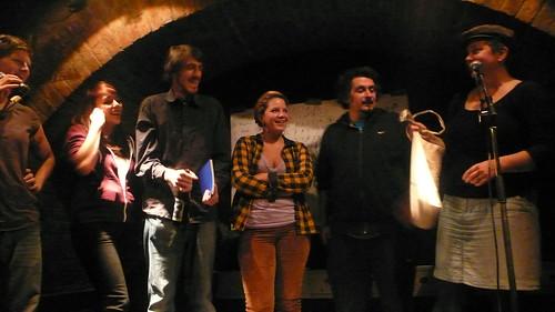 SiegerInnenehrung bei textstrom Poetry Slam Wien im November 2012