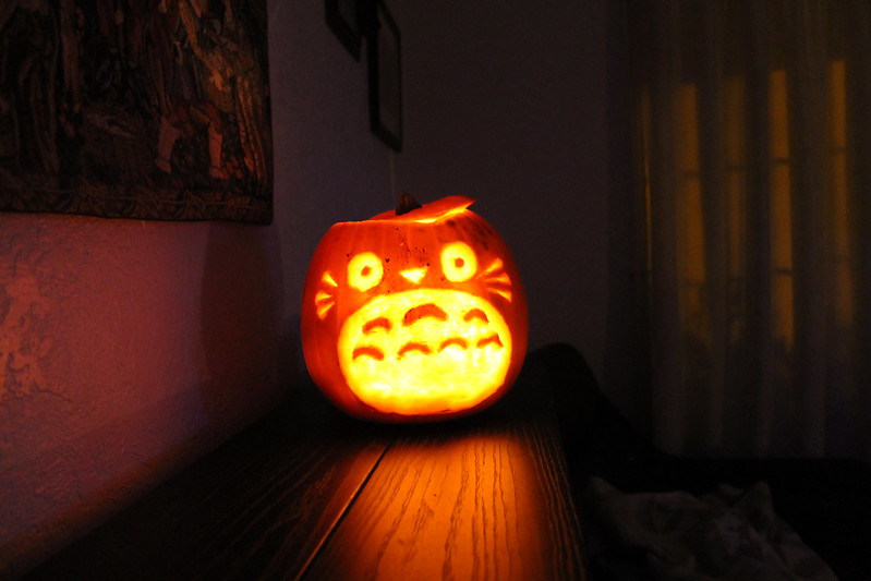 Will & Ellie's Totoro carved Halloween pumpkin