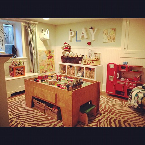 Scored used train play table from a neighbor. Playroom project complete!