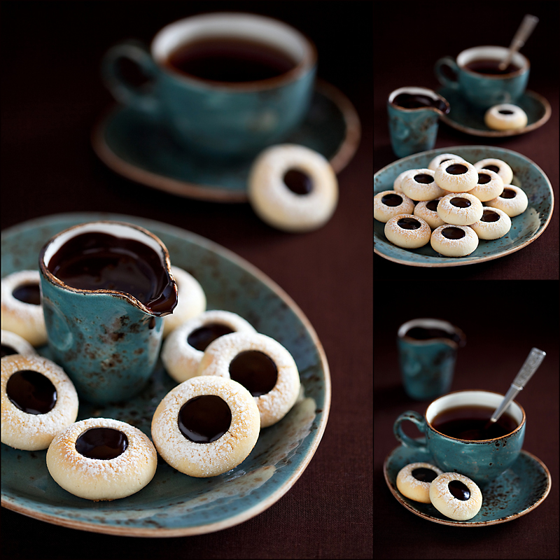 Homemade almond cookies with chocolate