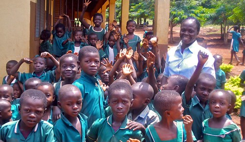 St Peter's School pupils with teacher Naomi Nkrumah SSL during break time