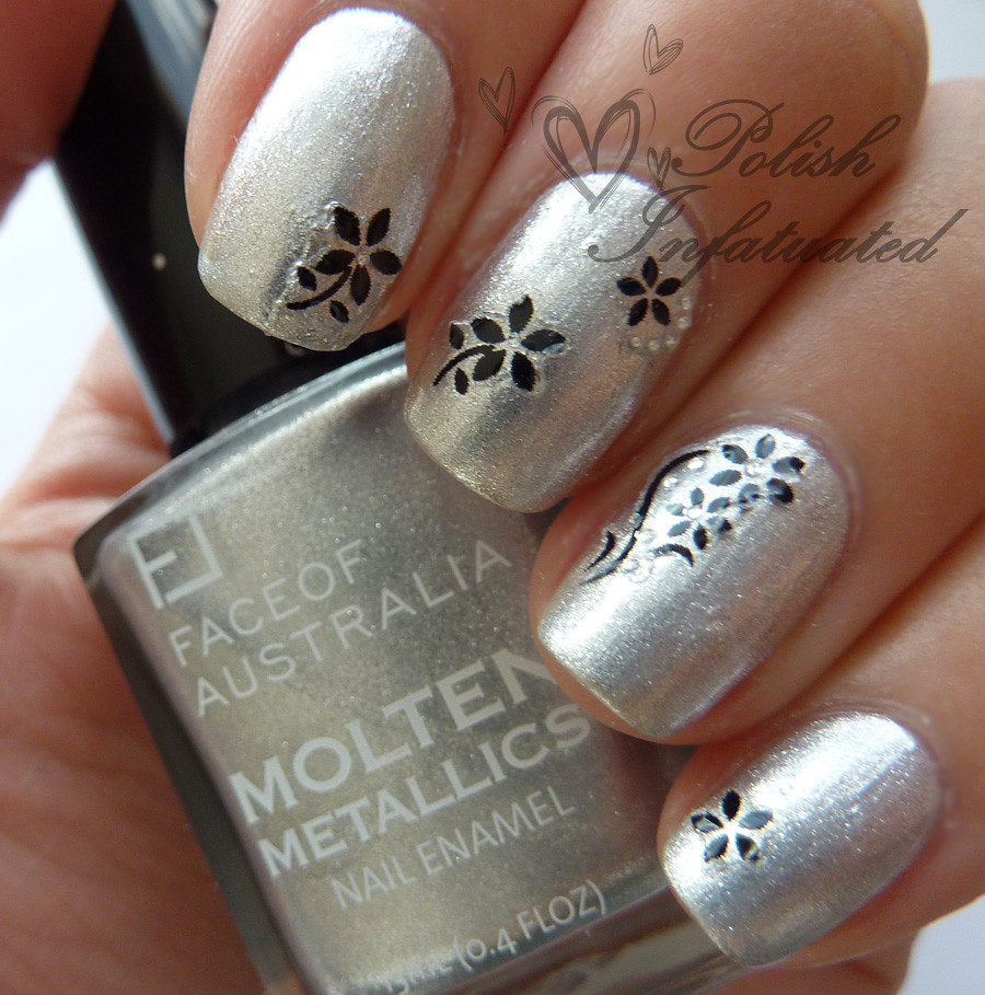 silver and black flowers