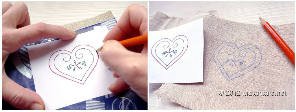 Heart embroidery pattern transfer