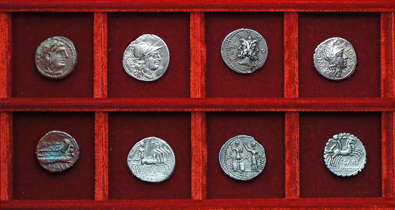 RRC 277 Q.MINV RVF Minucia quadrans, RRC 280 M.TVLLI Tullia, RRC 281 M.FOVRI Furia, RRC 282 M.AVRELI Aurelia, Ahala collection, coins of the Roman Republic