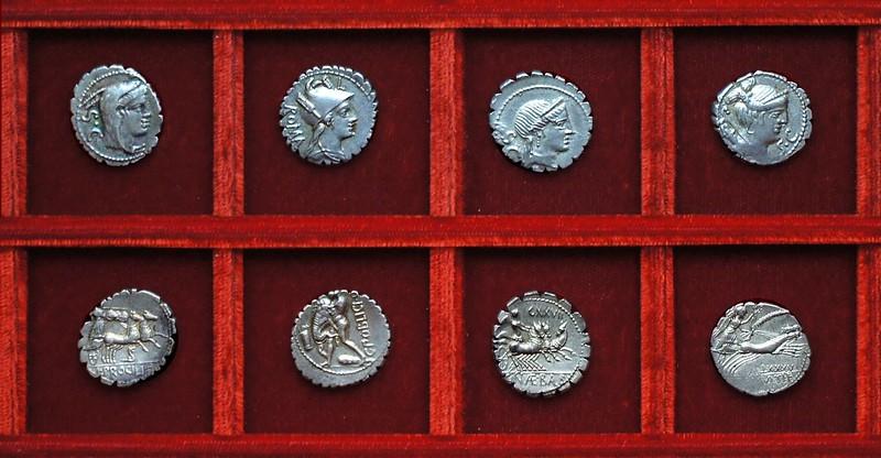 RRC 379 L.PROCILI Procilia, RRC 380 C.POBLICI Poblicia, RRC 382 C.NAE BALB Naevia, RRC 383 TI.CLAVD Claudia, Ahala collection, coins of the Roman Republic