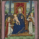 Illuminated Manuscript, Book of Hours, Madonna and Child enthroned, Walters Manuscript W.168, fol. 23r detail