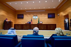 U.S. Ambassador to Saudi Arabia Joseph Westphal watches as U.S. Secretary of State John Kerry and Saudi Arabia Foreign Minister Adel al-Jubeir address reporters during a joint news conference following a series of meetings focused on Yemen and other regional hotspots on August 25, 2016, in the Royal Terminal 1 at King Abdulaziz International Airport in Jeddah, Saudi Arabia. [State Department Photo/ Public Domain]