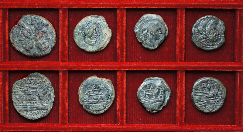 RRC 180 SAX Clovia bronzes, RRC 181 caps of dioscuri semis, Ahala collection, coins of the Roman Republic