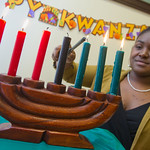 12-066 -- Raven Stubbs '13 demonstrated the principles and ceremonies of Kwanzaa.