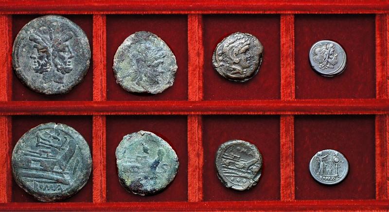 RRC 117B bird and rudder As, RRC 118 helmet bronzes, RRC 119 thunderbolt victoriatus, As, Ahala collection, coins of the Roman Republic