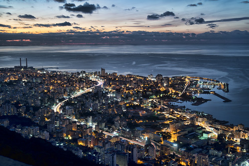 ocean city sky lebanon water skyline night nikon nighttime waters nightlife beirut hdr d800 harissa jounieh