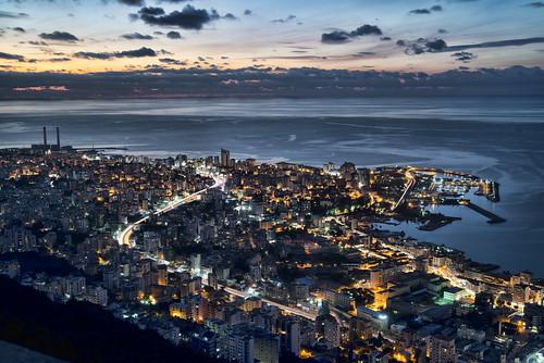 ocean city sky lebanon water skyline night nikon nighttime waters nightlife beirut hdr d800 harissa jounieh