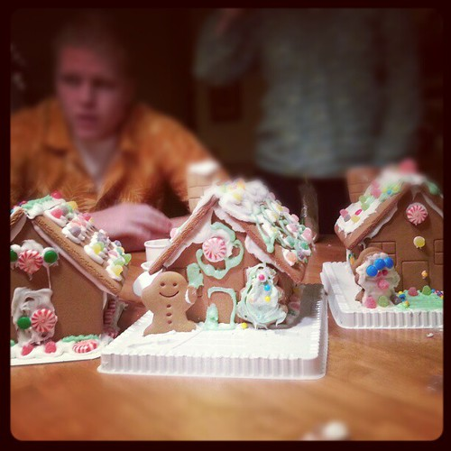 Finished gingerbread houses.
