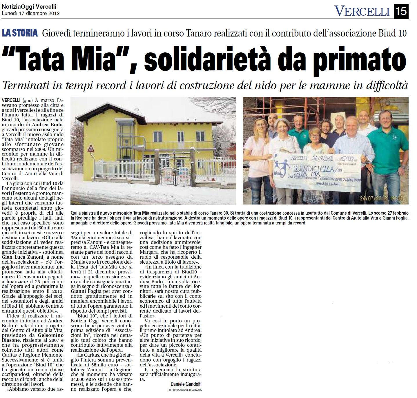 Notizia Oggi - TATA MIA solidarietà da primato