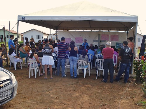 The Real Conquista Project, Goiânia, Brazil. Every Sunday Mass or Liturgical Celebration is held in the temporary Tent Church. Permission to build the Church and Community Center is still pending since 2007 due to government bureaucratic requirements