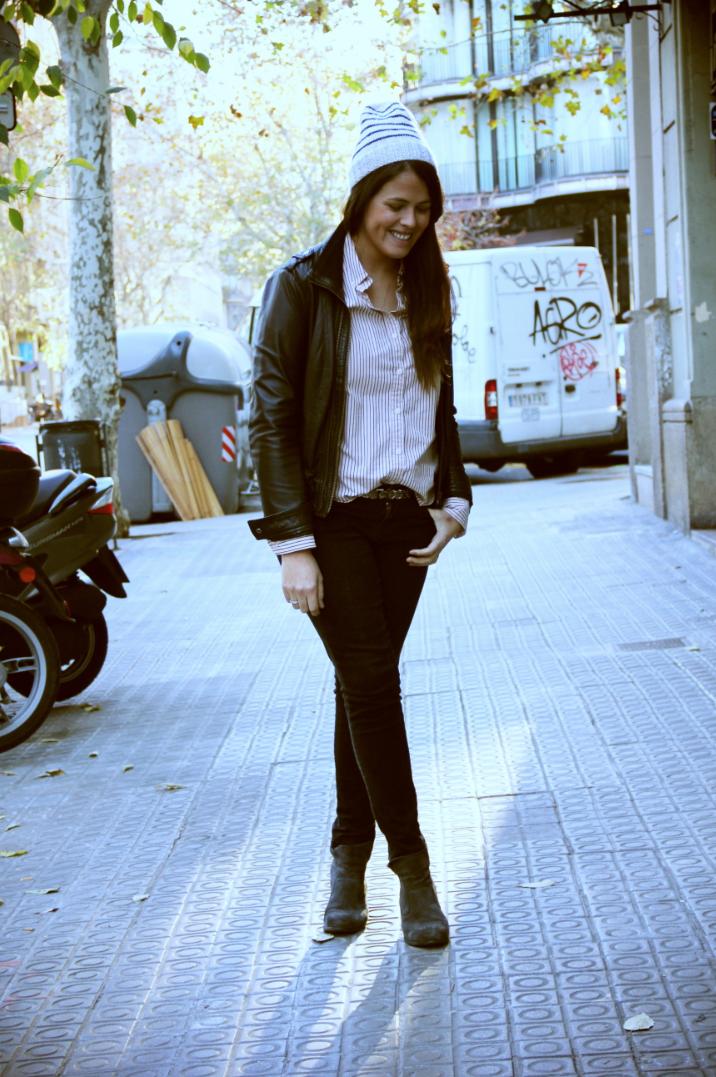 Look rockero + camisa a rayas