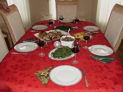 meal, dinner, lunch, supper, red, tablecloth, table, banquet, food,