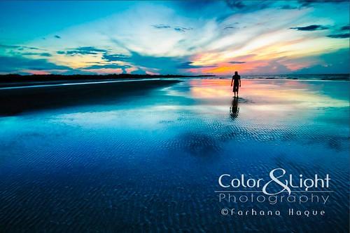 morning sea cloud man reflection beach colors silhouette sunrise walking landscape lost horizon fresh bangladesh kuakata