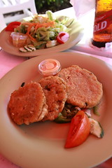 Lunch (Fish cake and salads) @ Sands