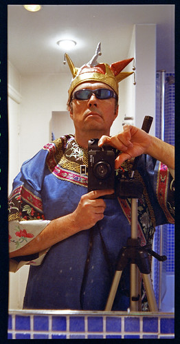 reflected self-portrait with Belair X 6-12 camera and kimono by pho-Tony