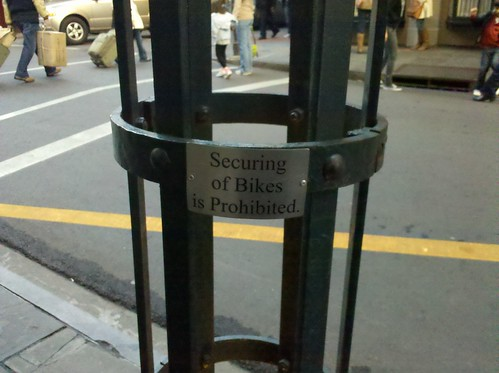 Securing of bikes is prohibited