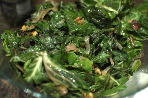 Caramelised onion and chard salad