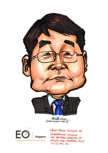 Mr Batkhuu caricature for EO Singapore
