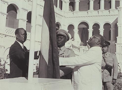 Sudan's flag raised at independence ceremony on January 1, 1956 by Prime Minister Isma'il Alazhari and in presence of opposition leader Mohamed Ahmed Almahjoub. The country celebrated its 57th anniversary on January 1, 2012. by Pan-African News Wire File Photos