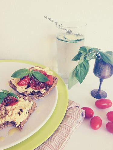 Breakfast Bruschetta and Cucumber Soda Water
