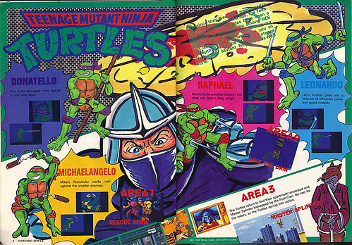 "NINTENDO POWER ::  MAY/JUNE 1989 // Vx pgs. 8,9 "" TEENAGE MUTANT NINJA TURTLES "" { original review }"