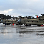 Two CH-47 Chinook helicopters land at Air Station Kodiak
