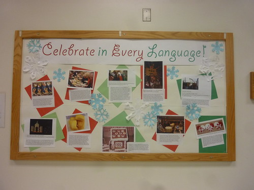 Diversity Bulletin Board with information about lots of different holiday traditions.