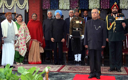 President with other dignitaries during the Army Day reception at army houe on 15-01-20131S2W01102 by Chindits