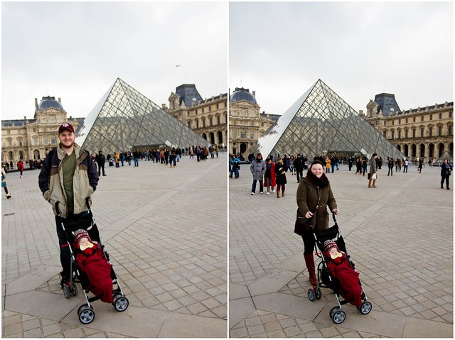 Parents with the Louvre pyramid