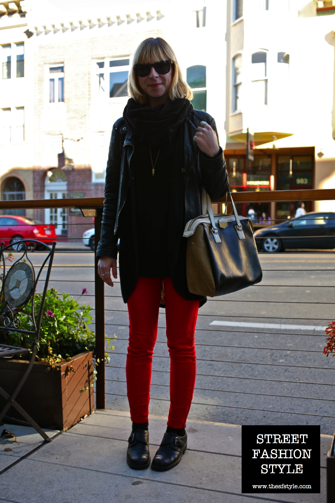 marc jacobs, leather jacket, red denim, red jeans, scarf, sunglasses, san francisco fashion blog, street fashion style,