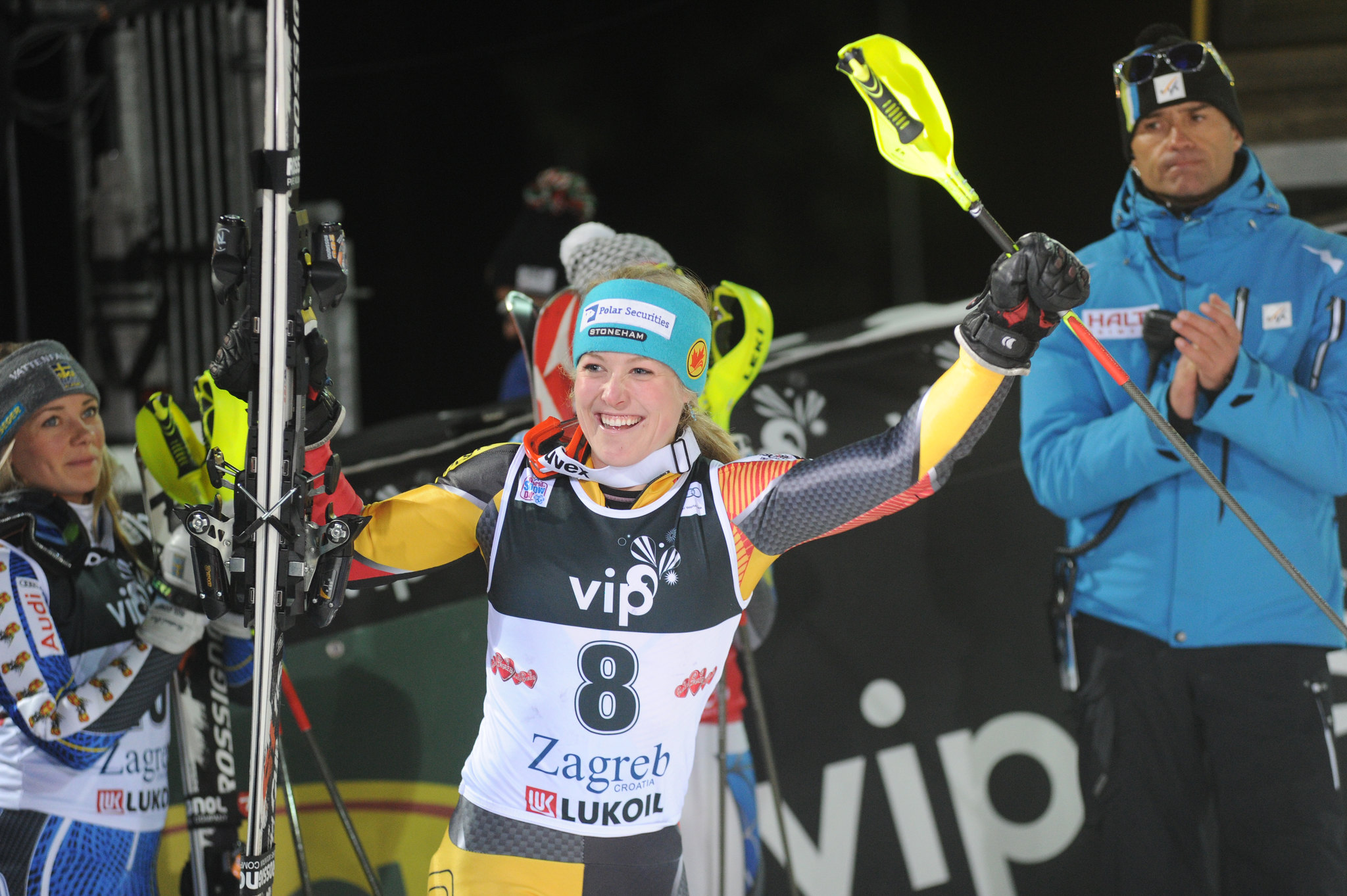 Erin Mielzynski is applauded for her podium finish in Zagreb, Croatia, in the women's night slalom.