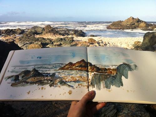 Rocks and remnant seafoam
