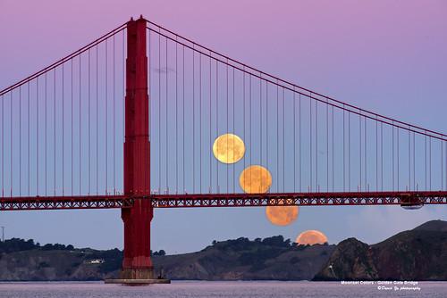 Moonset Colors - Golden Gate Bridge