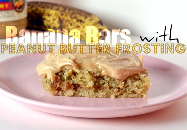 banana bars with peanut butter frosting