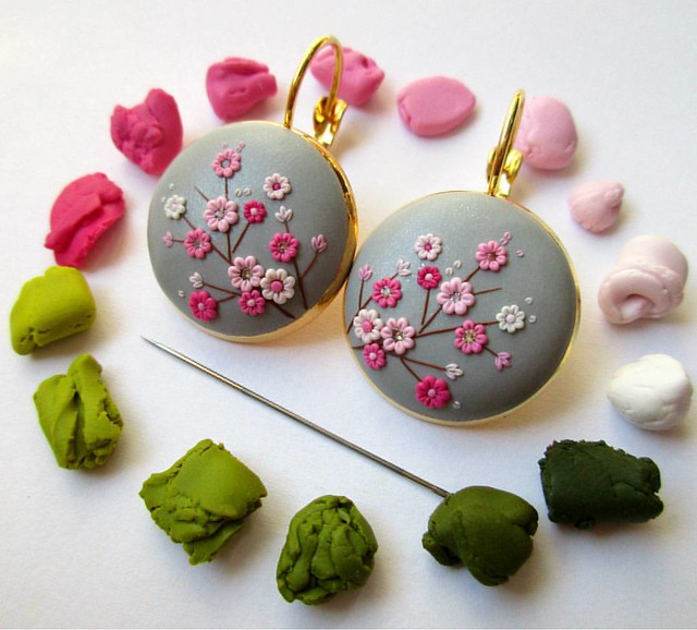 I am preparing a new sakura earrings with gray background. It is all made from polymer clay using only a needle. I hope you love it. I will just have to add green leaves... 😊🌸 #sakura #blossom #etsylove #etsyfinds #etsyshop #etsyselle