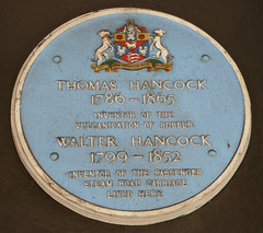 Photo of Thomas Hancock and Walter Hancock grey plaque