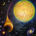 Stea si planeta pictura ulei pe panza - star and planet oil on canvas painting